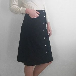 Glamorous Faux Suede Button-Up Black Midi Skirt